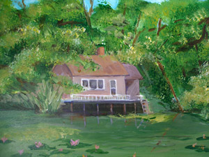 painting of cottage by the pond