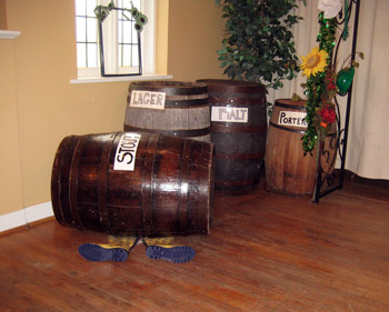 B'gosh and B'gorrah set with beer barrels