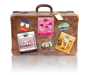 suitcase with Marjim Manor and stickers