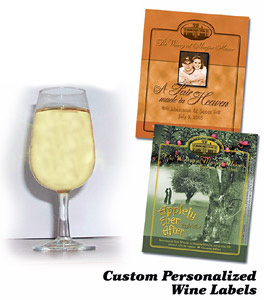 Customized wine glasses snf wine labels available at the Winery at Marjim Manor.
