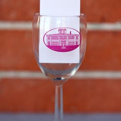 Personalized wine glass with logo in red