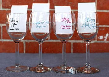 a row of Personalized wine glasses