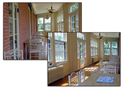 2 views of wrap-around enclosed front  porch